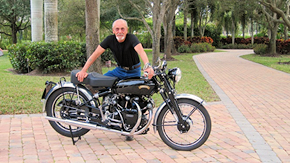 Bar Hodgson with one of his many Vincent Motorcycles